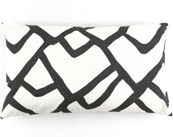 """ON SALE Schumacher Zimba in Charcoal Pillow Cover 14 X 24"""" (Both Sides)"""