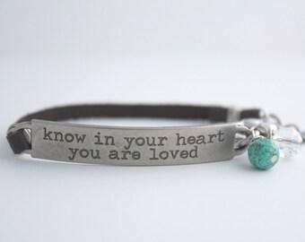 Love Quote, Love Bracelet, Love Gift, Friendship Bracelet, Kindness Quote, Leather Bracelet, Quote Bracelet, Boho Bracelet, Mantra Bracelet