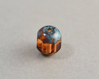 Brown Aqua Bead, Czech Glass, 7mm Picasso Bead, One