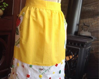 Happy happy upcycled tablecloth waist apron.