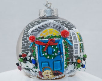 Hand Painted Ornament-Puppy by Doorway W/ 3D-Item 2081