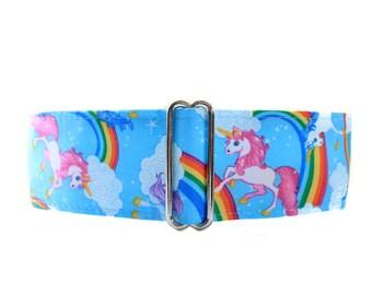 Unicorn Martingale Collar, 2 Inch Martingale Collar, Unicorn Dog Collar, Whippet Collar, Whimsical Dog Collar