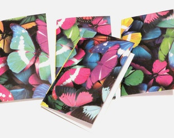 4 Butterfly Mini Notebooks colorful butterfly, butterflies. Mini journals, patterned notebook, handmade, blank journal, birthday party