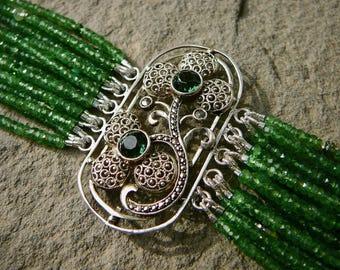 Theodor Fahrner Jewelry,Repurposed Fahrner Brooch,Gemstone Bracelet,Multi Strand Garnet Bracelet,Repurposed Deco Jewelry,Tsavorite Garnet