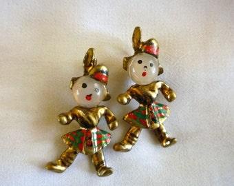 Vintage Scottish Figural Scatter Pins, Highland Dancers Brooches