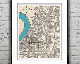 Memphis Tennessee Poster Art Print Old Vintage Map