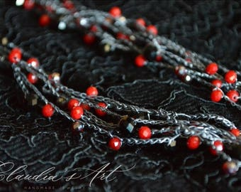 Crochet necklace with crystals black-red-grey