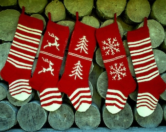"""Knit Christmas Stockings ~24"""" Personalized Hand knit Wool Cranberry Red White with Trees Deer Snowflakes Stripes ornaments Nordic style"""