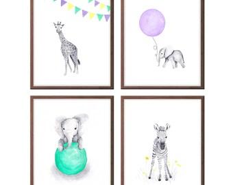 Baby Girl Nursery Art, Nursery Decor, Baby Elephant, Zebra, Giraffe, Art for Baby Girl, Wall Art, Set of 4 Prints - S411
