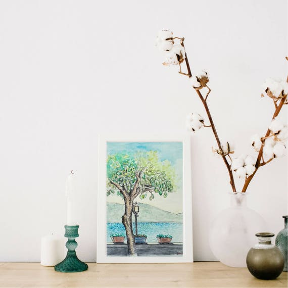 Watercolor painting, Landscape watercolor, chalks-Tree and Lake view