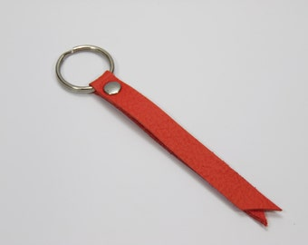 """Leather Key Fob, Leather Keyring, Leather Keychain, Leather Key Holder - 3"""" Key chain wrist strap in Red"""