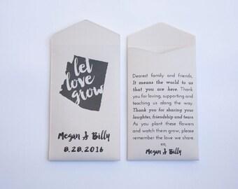 50+ Arizona Custom Seed Packet Wedding Favors - Arizona State Flower Seed Envelope - Arizona Guest Wedding Favor - Many Colors Available