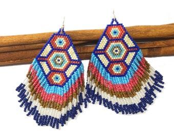 Aztec tribal earrings Boho earrings Chandelier earrings Dangle earrings Bohemian earrings Tribal jewelry Beaded earrings Native earrings