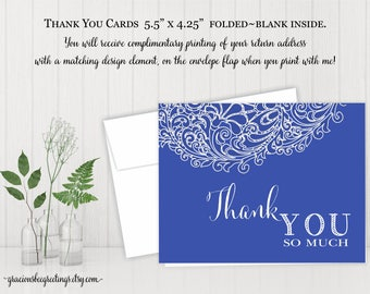 Thank You Note Cards, Thank You Cards, Thank You Stationery, Birthday, Bridal, Baby Shower, Digital, Printable BW12751