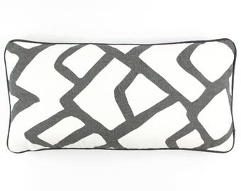 """ON SALE Schumacher Zimba in Charcoal Pillow Cover 12 X 24"""" with Charcoal Grey Welting (Both Sides)"""