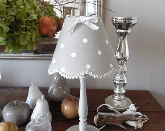 Patina lamp shade linen, shabby chic, polka dot bow