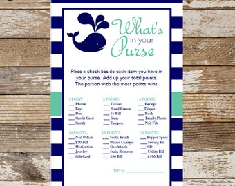 Baby Shower ~ Instant Download What's in your Purse Games, Nautical Navy Blue Whale Theme, Baby Shower Purse Game Printable Cards BS390