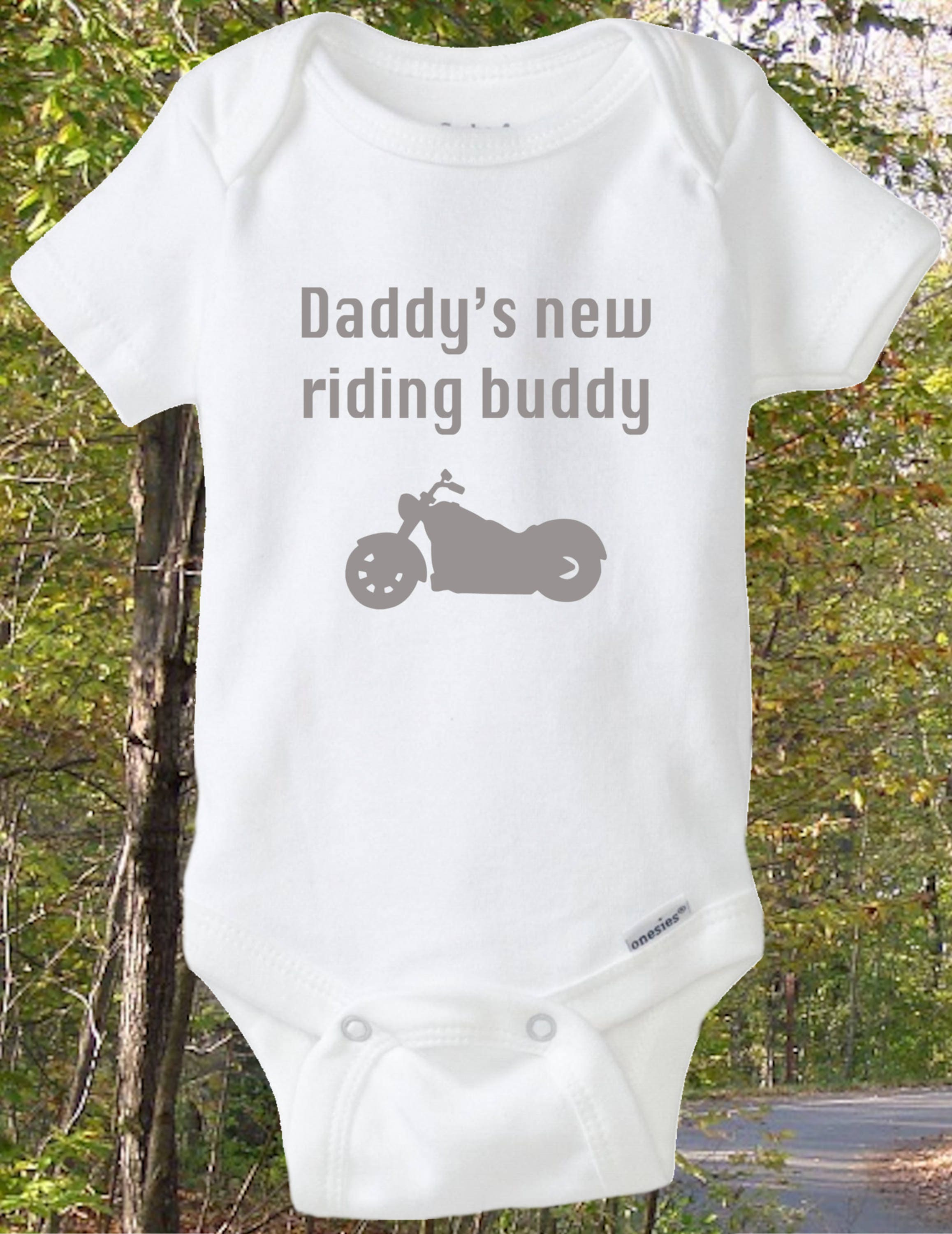 Motorcycle baby shirt daddy s new riding buddy onesie