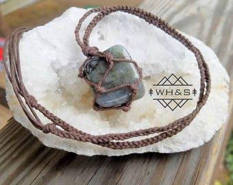 Hemp Wrapped Labradorite Necklace, Polished Labradorite Jewelry, Healing Crystal Jewelry, Healing Crystal Necklace, Stone Pendant