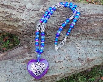 Agate Heart Necklace, Bohemian Necklace, Boho Jewelry, Gypsy Necklace, Heart Necklace, Beaded Necklace, Statement Necklace, Boho Jewellery