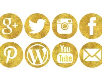 Glitter Gold Social Media Icons