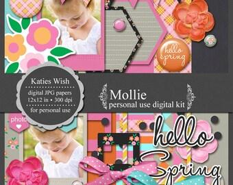 Spring Digital Scrapbooking Kit  Instant Download Mollie for scrapbooking