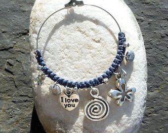 Hoop earrings silver blue grey macrame and silver metal charms