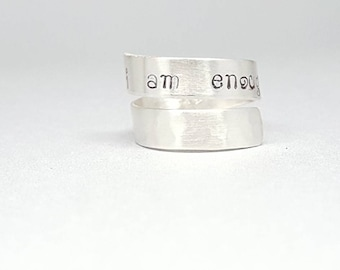 Sterling silver - I am enough - self esteem - self worth - adjustable ring - motivational ring - size 6.75 - ring for her