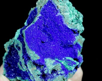 Beautiful Royal Blue Azurite on Green Malachite WITH DISPLAY STAND CM692665 from Liufengshan Anhui China