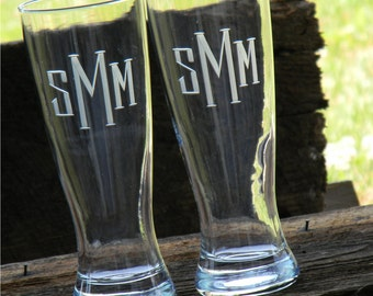 Set of 2 Monogrammed Beer Pilsner Glass with hand engraved to order.
