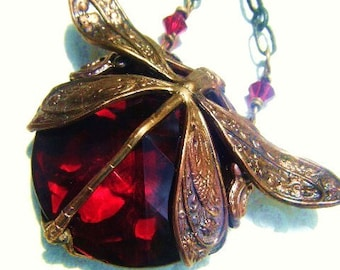 Heart's Desire-Red Dragonfly Art Nouveau Necklace