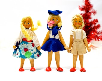 VINTAGE: 3 Poland Wood Peg Dolls - Polish Doll - Made in Poland - SKU 28-C2-00010890