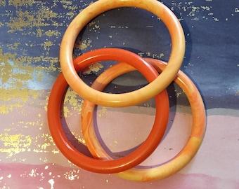 Orange Bracelet Set of 3 Bangles Vintage Jewelry
