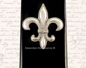 Money Clip Fleur De Lys Antique Silver Inlaid in Hand Painted Onyx Enamel French Monarchy Inspired Custom Colors and Personalized Option