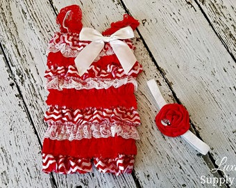 Candy Cane Red and White Romper and DIY Headband - Christmas Outfit - Baby Girl Lace Petti Romper & DIY Headband - Christmas Party