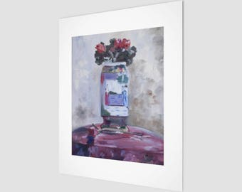 Art Print - Chinese Vase & Flower