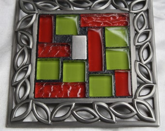 MOSAIC COASTER or Candleholder / Brushed Nickel - Red, Lime Green & Silver Glass Tiles ....SALE ....was 15.00, now 12.00 (Ready to Ship!)