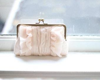 Blush Clutch | Bridal Clutch | Blush Wedding Purse | Monogram Clutch | Personalized Clutch [Flutter Clutch: Blush Silk]