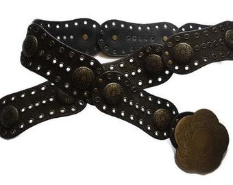 Boho brown leather belt Gold metal buckle belt Suede belt hippie metal rivets belt Steampunk Belt hip belt Ethnic Festival Belt tribal belt