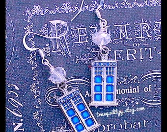 Dr. Who Earrings, Dr. Who Tardis Crystal Dangle Earrings , Handmade By : Tranquilityy