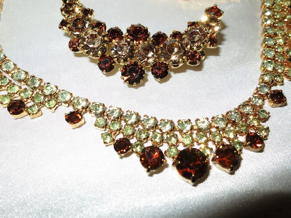 Beautiful vintage 1950s goldtone citrine and topaz rhinestone necklace & brooch
