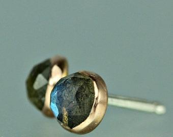 Labradorite Stud Earrings - Labradorite Rose Gold Studs - Rose Cut Labradorite Studs -  Rose Gold Gem Studs - Labradorite Rose Gold Posts