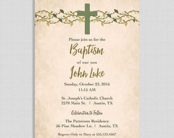 Rustic Baptism Invitation,  Baptism Invite, Green, Cross, Christian Baptism Invite, Baby Boy, Christening, DIY PRINTABLE