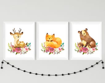 Woodland nursery printable art set of 3 cute animals, fown fox bear nursery watercolor art with flowers, kids room decor download