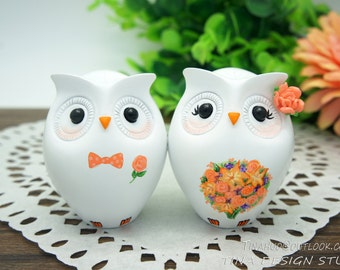 Owl Wedding Cake Toppers Fall Themed,Fall Wedding Cake Toppers,Love Bird Wedding Cake Toppers With Orange Bouquet