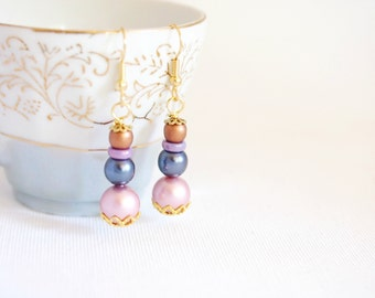 pearl earrings, pearl stack earrings, romantic pearl jewelry, pearl drop earrings, niobium earrings