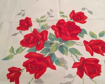 Vintage Wilendur Royal Red Rose Tablecloth