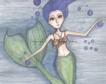Mermaid,  big eyes, print, sea creatures, blue hair mermaid, blue and green colors