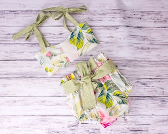 Cream Floral two piece romper- cotton two piece floral outfit, floral lace outfit, tea party outfit, floral bloomers, floral crop top