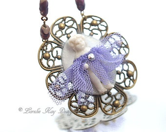 I Shall Wear Purple Frozen Charlotte Necklace Frilly Little Doll Necklace Red Hat Society Pendant Lorelie Kay Original